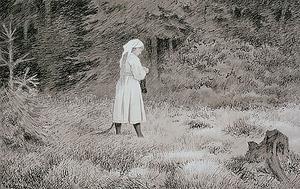 Ett skogsrå med svans. Målning av Theodor Kittelsen från 1892.