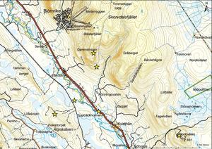 Stjärnorna på kartan är spaningsplatser vid en inventering av örnreviret 2012.