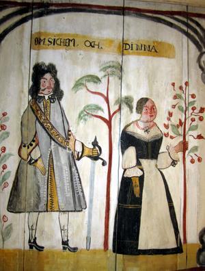 Den ruskiga berättelsen om Shekem som våldtagit den unga kvinnan Dina skildras i en målning i kapellet i Barsta.