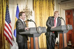 Statsminister Stefan Löfven (S) och USA:s president Donald Trump under en presskonferens i Vita huset i samband med Löfvens USA-besök. Foto: Tomas Oneborg / SvD / TT /