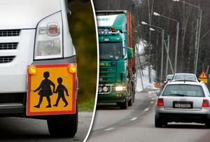 Signaturen Mormor Berit skriver om sitt barnbarn som nu måste korsa tungt trafikerade E14 för att komma till busshållplatsen. Bild: Janerik Henriksson/TT & Håkan Humla