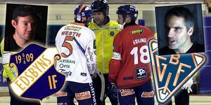Jonas Edling och Andreas Westh, lagkaptener i Edsbyn och Bollnäs.