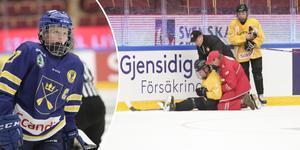 Tuva Kandell och situationen med Västergötlands spelare som tvingades utgå efter tacklingen. Bilden är ett montage.