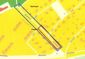 De boende föreslår i första hand att Säters kommun anlägger vägbulor i det rödmarkerade området, men helst vill de ha permanenta farthinder efter hela Bergstäktsvägen.Karta: Lantmäteriet