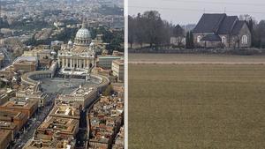 St Peterskyrkan i Rom eller Skederids kyrka i Finsta? Valet är enkelt. Finsta har visserligen stundtals lite otur med vädret (bilden) men bortser man från mycket är Finsta ändå värt ett besök.