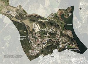 Det finns många grönområden inom Lina strukturplan och viktiga ekologiska korridorer från Malmsjöåsens vattenskyddsområde i väster till Mälaren i öster, från naturreservatet i norr till Ronnaskogen och Snäckviksogen i Söder. Karta: Södertälje kommun