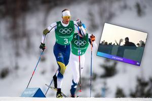 Daniel Rickardsson och Jens Burman hade svårt med skidorna i herrarnas stafett. Bild: Bildbyrån/Eurosport.