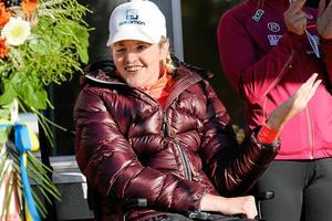 Anna Holmlund under invigningen av nya rullskidbanan på Alnö tidigare i år.