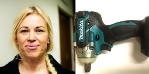 Maria Näslund och mutterdragaren polisen köpte av stöldligan på Tradera. Bilder: Jennie Sundberg och polisen