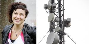 """Therese Bengard på organisationen Hela Sverige ska leva välkomnar försäljningen av rättigheter för en ny frekvens: """"Vi ställer oss positiva till att man utökar det här. Det är så klart väldigt viktigt att det finns mobiltäckning i hela landet""""."""