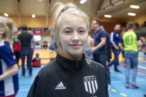 Julia Florentin, 11 år Sandvikens BK, gick två av tre matcher under lördagen.
