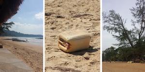 Sista gången hon var tillbaka till Thailand var för fem år sedan. Då såg hon en likadan dunk på stranden som den som räddade livet på henne. Högt upp i träden var grenarna knäckta. Foto: Margaretha Walli
