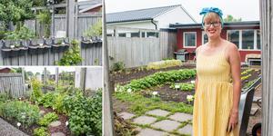 I Linda Holtbys trädgård på Vallby finns både grönsaker, potatis, kål, rotfrukter, bär och ätbara blommor.