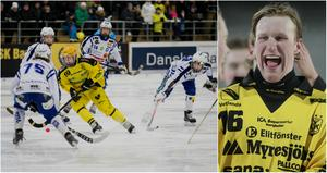 Poängkungen Pontus Nordström jublar efter SM-finalen 2018 då Vetlanda slog Vänersborg med 7–2. I serien noterades anfallaren för 45 mål och 18 assist på 17 matcher.
