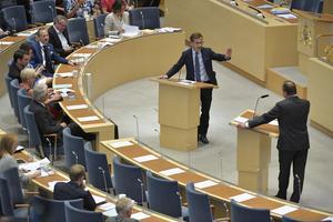 Mandatperiodens sista partiledardebatt i riksdagen. Bild: Jessica Gow/TT