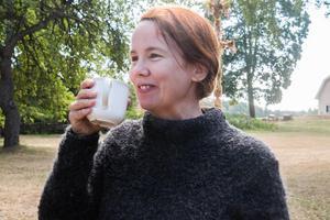 Mia Frid Flodén från Sorunda gestaltar Moa Martinson i delar av dokumentären. Foto: Amanda Lundin
