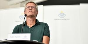 Anders Tegnell på tisdagens presskonferens. Foto: Naina Helén Jåma/TT