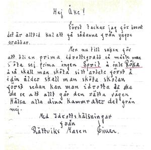 Brevet som Åke fick från bandyspelaren Einar Tätting.