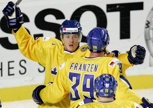 Andreas Karlsson i Tre Kronor-tröjan. Foto: TT.