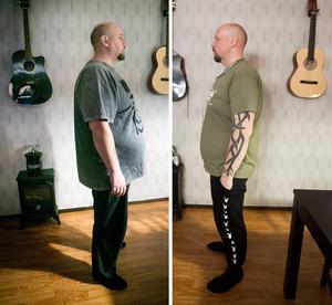 Till vänster: Henrik Persson inför operationen den 24 januari 2017. Till höger: Den 25 januari 2018.