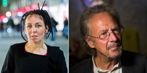 Här är årets och förra årets Nobelpristagare i  litteratur; Olga Tokarczuk och Peter Handke. Bilder: Leif R Jansson/TT och Fredrik Varfjell/TT (bilden är ett montage)