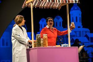 Maria Bürstedt Svanholm bjöd på välgjorda och roliga gestaltningar genom hela föreställningen. Här som livsmedelskontrollant hos Stina Joza.