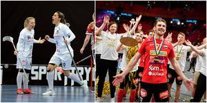 Matilda Sjödin och Ranja Varli, till vänster, vann damfinalen med Täby. På herrsidan fixade Tobias Gustafsson och Storvreta en guldrepris. Foto: TT