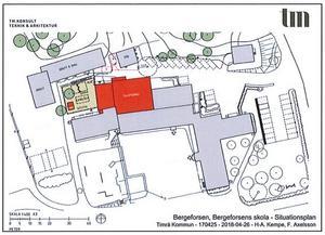 Den röda markeringen visar särskolebyggnaden en satsning i 25 miljonersklassen. Illustration: Timrå kommun.