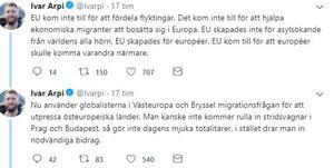 Skärmdump från Twitter. Ivar Arpi är föräldraledig ledarskribent på Svenska Dagbladet men tog plötsligt bladet från munnen i helgen.