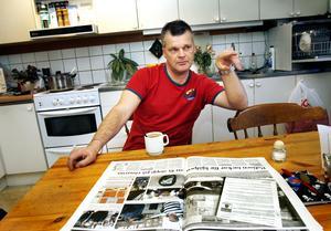 Hans Flach i hemmet i Bomhus efter bankrånet. Numera bor han i Stockholm. Bild: Arkiv