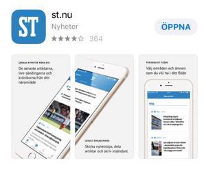 """Det går snabbt att ladda ned ST:s nyhetsapp. Du hittar den hos App Store eller Google Play. Sök på """"st.nu""""."""