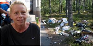 Therese Vellonen upptäckte en stor mängd skräp vid infarten till Nya Malmsjöbadet när hon var på promenad med sin hund.