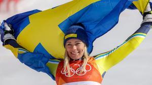 Glädjen till skidåkningen finns kvar och än så länge har Frida Hansdotter inte några planer på att sluta med sporten hon älskar. Foto: AP Photo/Morry Gash
