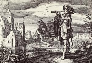 Holländarna var först med att utveckla teleskop för militära ändamål. Illustration av Adriaen van de Venne från 1624.