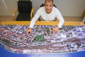 Bengt Gryckdal, mark- och exploateringskontoret, Östersunds kommun. Byggplan Storsjö Strand, Bangårdsgatan, Söder i Östersund.