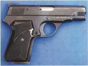Bild på den typ av pistol som polisen är övertygad om att gärningsmannen använde. Mordvapnet har dock inte hittats. Foto: Polisen