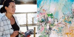 När hon gjorde målningen inspirerades Linda av ängarna i Österalnö. Bild: Privat/Norrmejerier
