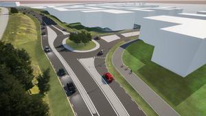 Den nya rondellen in mot Norra kajen får en snabbfil in mot stan. Bild: Trafikverket