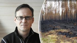 Mikael Mattsson, vd för Meraskog, informerade om läget efter bränderna.