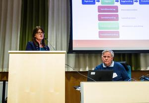 Lena Jernberg, uppdragsledare och Krister Johansson, projektledare, båda från Trafikverket, presenterade förslaget på onsdagskvällen.