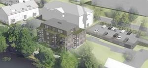 Det nya huset som ersätter två hus som tidigare fanns på förslag. Bild: LBE Arkitekter