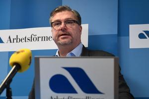 Arbetsförmedlingens generaldirektör Mikael Sjöberg presenterar sin prognos för arbetsmarknaden.Foto: Fredrik Sandberg / TT.