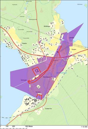 Delar av marken som kommunen köper av VB Kraft. Karta: Smedjebackens kommun