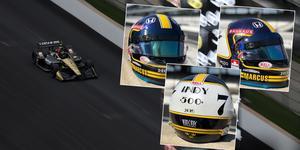 Sean Bull har designat Marcus Ericssons specialhjälm för Indy 500. Foto: Indycar/Faksimiler: Marcus Ericssons Instagram
