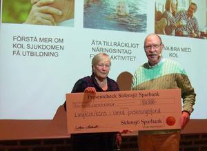 Ordföranden, Sonia Seidevall, överlämnar en check till professor, Thomas Sandström.