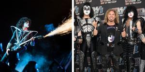 Daniel Mullback från Falun träffade sina idoler i Kiss innan deras sista spelningen i Sverige i fredags. Foto: TT/Privat