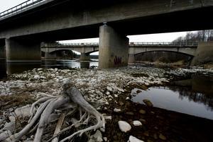 Lågt vattenstånd i Ljungan. Njurundabommen.Foto: Linus Wallin