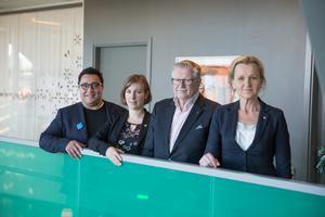 Ledarna för Södertäljes nya majoritet: David Winerdal (KD), Hanna Klingborg (MP), Tage Gripenstam (C) och Boel Godner (S).