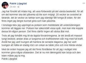 Patrik Liljeglöd berättar själv om beskedet på bland annat sociala medier. Foto: Skärmdump