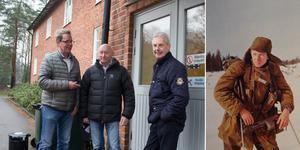 Per Nerving, Lennart Nordqvist och Tomas Nilson gjorde lumpen på Lv 3 för 50 år sedan. Lennart Nordqvist på skidor, spanar efter fienden. Foto: Privat